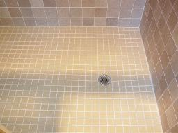 Shower floor - after re-grouting